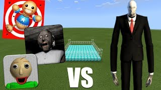KICK THE BUDDY, BALDI'S BASICS & GRANNY HORROR VS SLENDERMAN in Minecraft PE