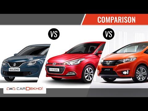 Maruti Baleno vs Hyundai Elite i20 vs Honda Jazz | Comparison | CarDekho.com