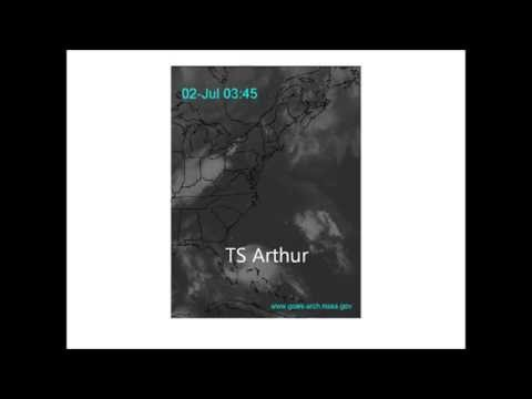Hurricane Arthur Track June 30-July 5, 2014 along the...