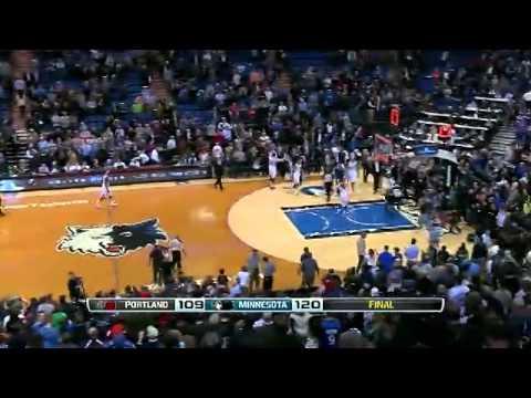 Damian Lillard's 3/4 Court Buzzer Beater  (Timberwolves vs. Trail Blazers) - December 18, 2013