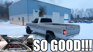 CUMMINS ENGINE BAY TRANSFORMATION AND SNOW DONUTS!!!!