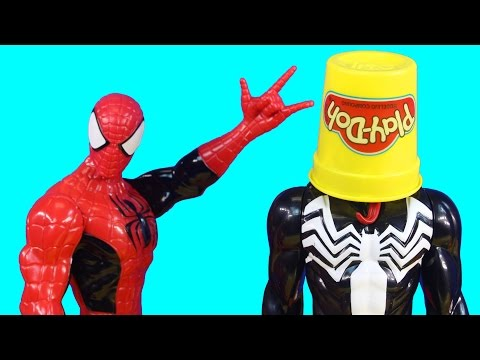 Marvel Ultimate Spider-Man Web Warriors Spiderman With Turbo Racer & Venom Have Play Doh Fight