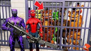 JAILBREAK ALL FREDDY ANIMATRONICS BY BLACK PANTHER & SPIDERMAN! (GTA 5 Mods FNAF RedHatter)