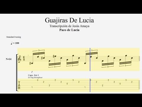 Guajiras De Lucía - Paco De Lucía - Tablatura Por Jesús Amaya...