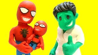 Baby Spiderman is cold - Superhero Play Doh Cartoons & Stop Motion Movies for kids