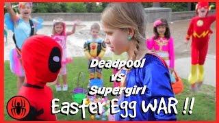 Lie Heroes Kid Deadpool vs Supergirl Surprise Egg Hunt! Superheroes in Real Life   Superhero Kids