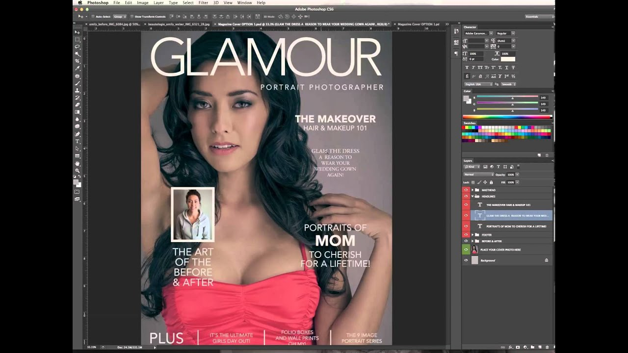 cover layout photoshop designing editing a magazine cover