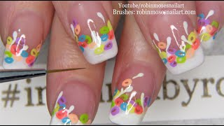 Rainbow Fruit Loop Nails! | Cute Cereal and Milk Nail Art Design Idea