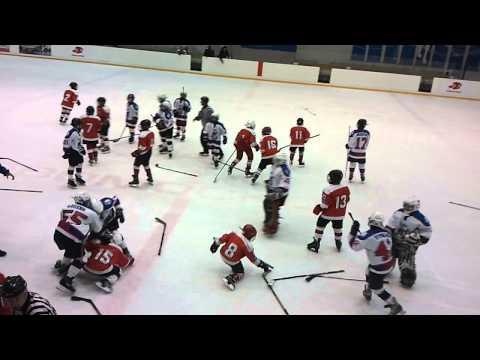 драка маленьких хоккеистов (Брянск 2002 - белые и Новомосковск 2002 - красные)