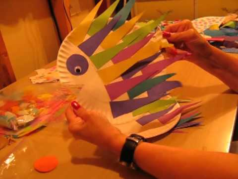 Kids Fish Craft - Creative Art Part 1 - Using CDs - Nans Crafts Episode 7
