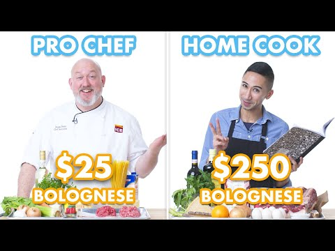 Play this video 250 vs 25 Pasta Bolognese Pro Chef amp Home Cook Swap Ingredients  Epicurious