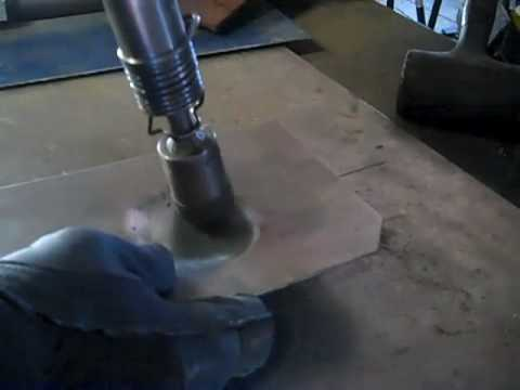 """""""Flow forming""""  metal shaping with a rivet gun"""