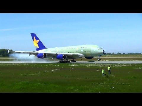 Skymark Airlines A380 JA380A in primer landing at Hamburg Finkenwerder