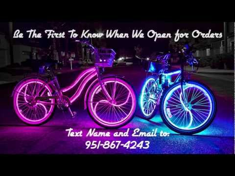 Coolest Glowing Beach Cruisers! Glow Candy Bike Lights Mission Beach July 4th 2011