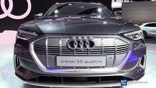 2019 Audi e Tron 55 Quattro SUV - Exterior and  Interior Walkaround - Debut 2018 LA Auto Show