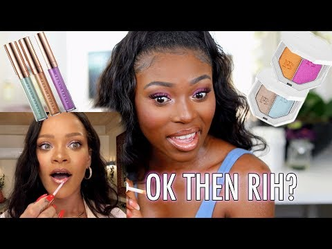 TRYING NEW FENTY MAKEUP! BEACH PLEASE AND I LET RIHANNA SHOW ME HOW TO DO IT!