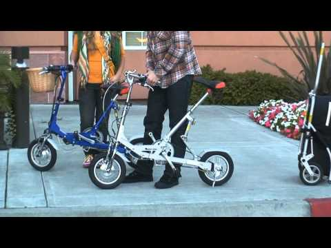 VeloMini Folding Electric Bicycle Bike and the T-1 Bicycle Trailer and Luggage