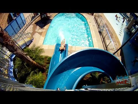 New Disneyland Hotel pool monorail water slides - POV ride on Red and Blue!
