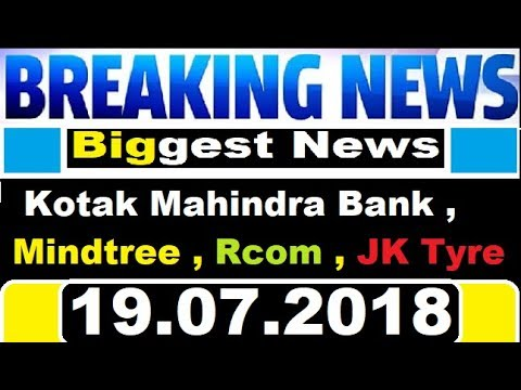 Today Breaking News in Kotak Mahindra Bank , Rcom , JK Tyre , Mindtree .... || today stock