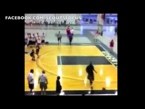 LeBron James knocks down camper Evan Mahoney on dunk and then loses game of knockout
