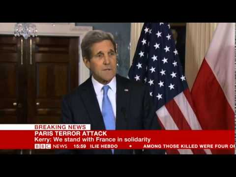 Foriegn Affairs Secretary John Kerry speaks French to the mouring French people after the shooting w