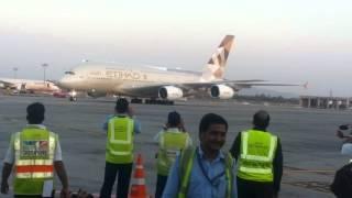 Etihad's first  A380 arrival at mumbai airport.