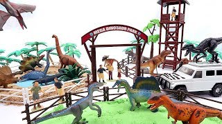 Mega Dinosaur Playset With Jurassic World Dino Toys. Funny DIY Play For Kids