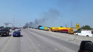 Trash truck on fire