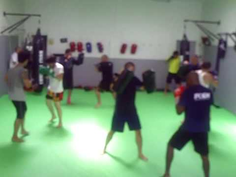 MMA Fighter Training @ FTCC Hybrid Thai Pads Knee Drills - James Cook Image 1
