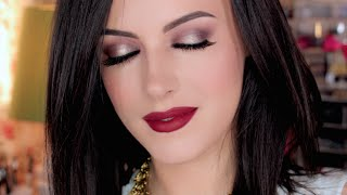 Fall Look: Dark Lips & Metallic Plum Eyes
