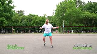 Skolernes Motionsdag 2018 - opvarmningsdans med instruktør