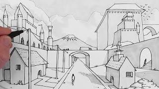 How to Draw a Background: Draw 1-Point Perspective