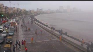 Monsoon Nariman Point Marine Drive Aerial Video - Mumbai