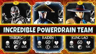 MKX Mobile. AMAZING Shaolin Fist Kung Lao Power Team. SO MUCH POWER!