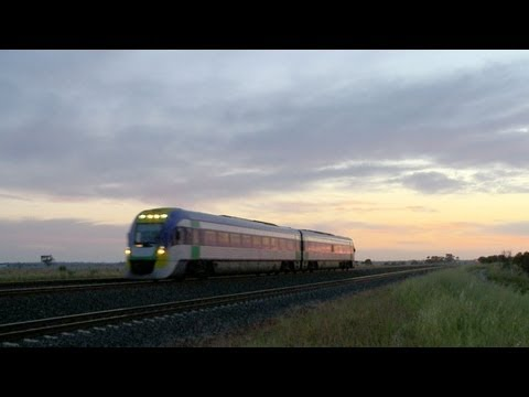 V/line V/locity Passenger Railcar At Sunset - PoathTV Railroads, Railways & Trains in Australia