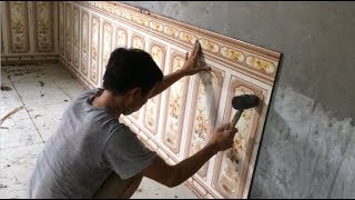 How To Install Wall Ceramic Tiles Living Room Easy - Traditional Construction Techniques