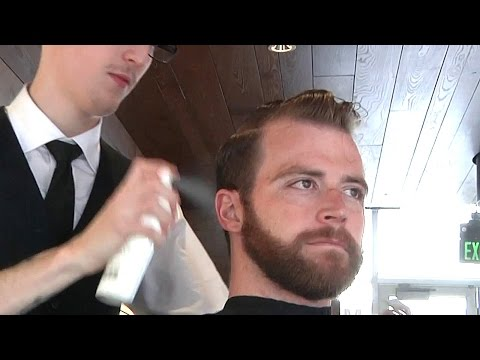 Mens Spa Shampoo, Haircut and Style Slick Side Part Fade: Celebrity Hairstyle