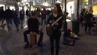 Elvis Presley, Blue Suede Shoes by Ghalia Vauthier - Busking in the streets of Brussels, Belgium