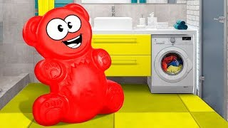JELLY GUMMY BEAR AND THE WASHING MACHINE. THE NEW ADVENTURES