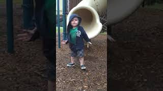 Toddler Faceplants into Puddle After Coming Down a Slide - 1046873
