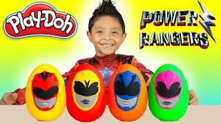 New Power Rangers Movie 2017 Toys Unboxing Surprise Play-Doh Egg Giant Opening Fun Kids Disney
