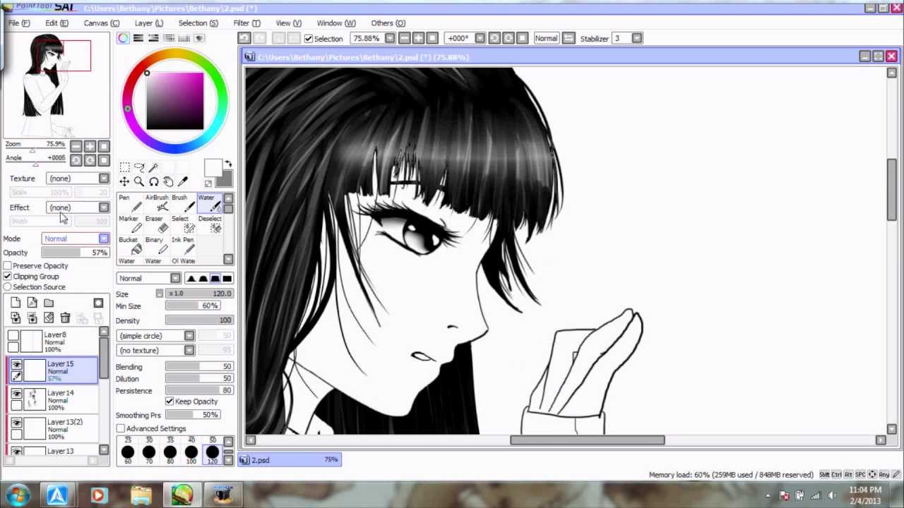 Paint Tool Sai Coloring Black Hair In Realtime Youtube