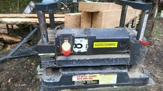 HARBOR FREIGHT  table top thickness planer in use