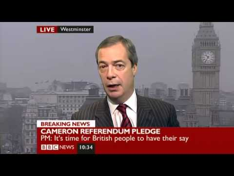 BBC News- Nigel Farage on Cameron's Europe speech (23Jan13)