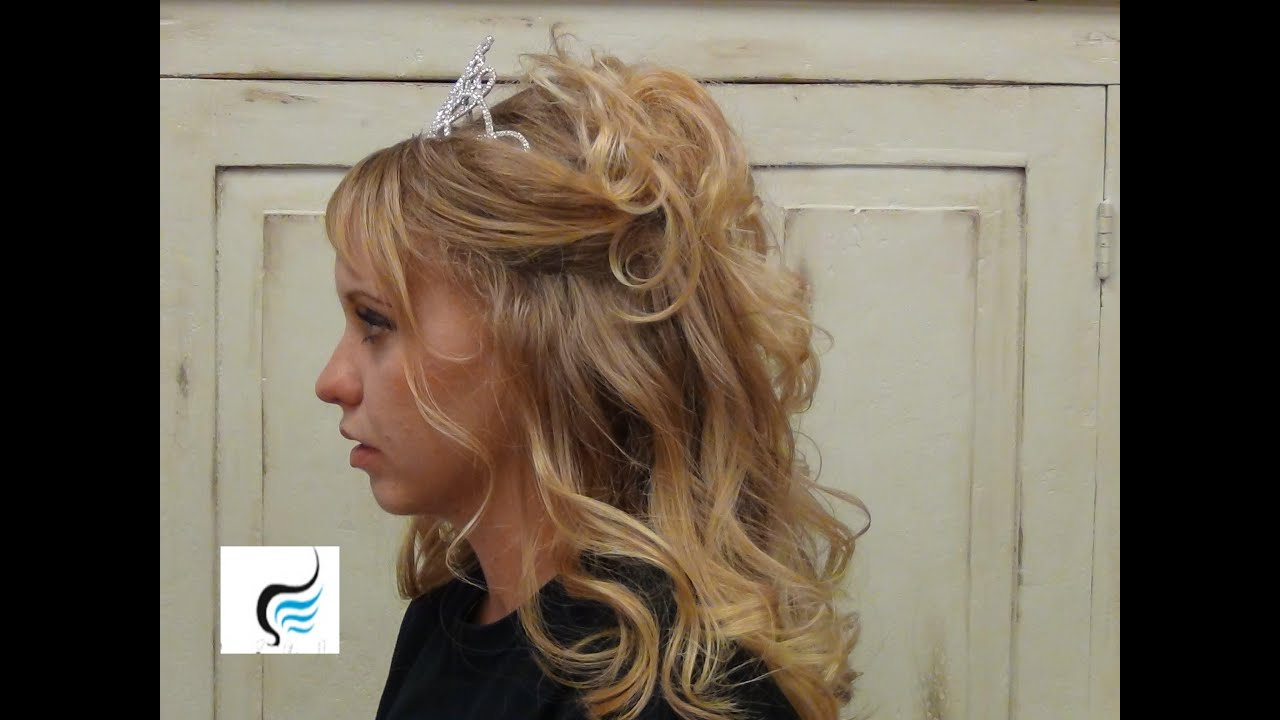 Half Updo With Crown Prom Queen Style Hairstyle YouTube