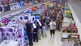 Stunning toilet paper feeding frenzy caught on camera