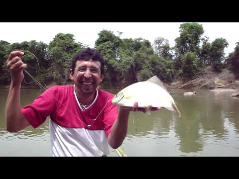 Pescando um pacú no rio Pará - MG