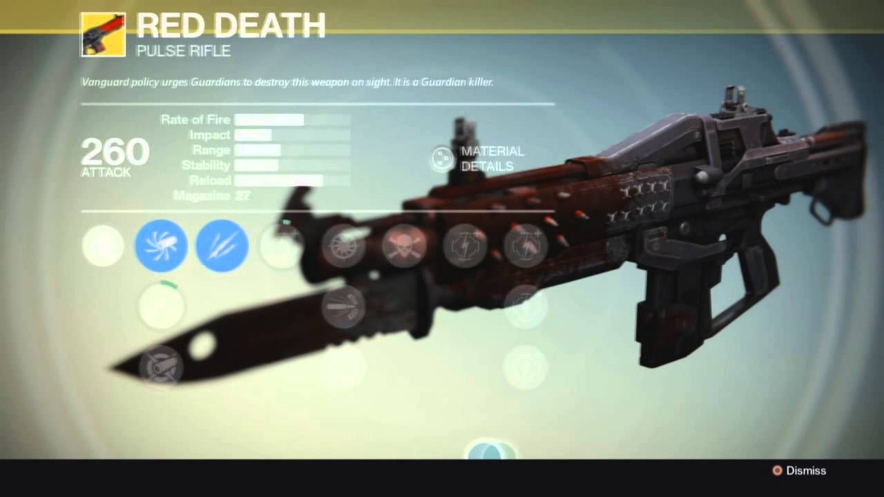 Destiny exotic gun red death pulse rifle youtube