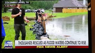 Guy in Columbia Lakes, TX Brazoria County makes homemade levee
