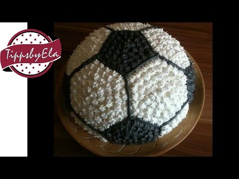 How to make a football cake for a birthday party ( soccer ball...